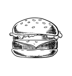 Cheeseburger with beef vegetables and cheese vector