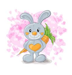 cute bunny with hearts cartoon vector image
