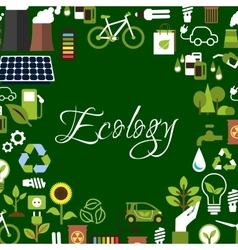 Eco background with recycling save energy icons vector