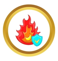 Fire and sky blue shield with tick icon vector