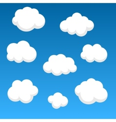 Flat clouds on blue sky vector image