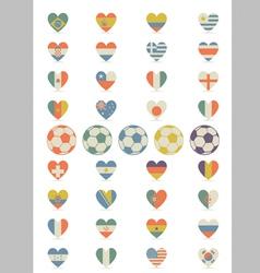 Flat flags heart vector
