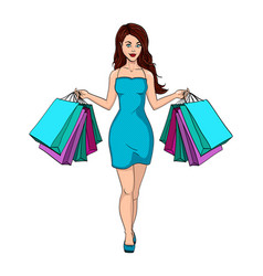 girl with shopping i bought a lot of clothes vector image