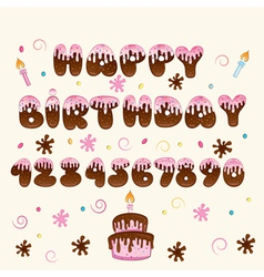 Happy birthday pink lettering vector