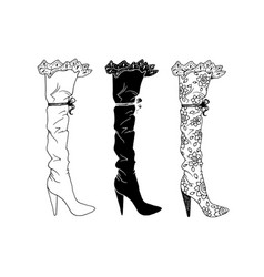 high-heeled shoes set for woman fashion footwear vector image