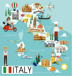 Italy travel map vector