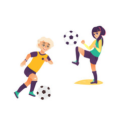 Kids children boy and girl playing football vector