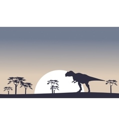 Mapusaurus on the field scenery silhouettes vector