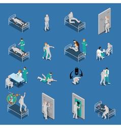 Mental Patients Isometric Set vector image vector image