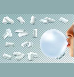 Mint bubblegum realistic set vector