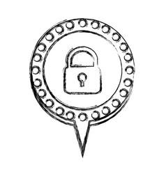 Monochrome sketch with padlock and circular speech vector