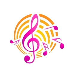 Music themed motif in yellow and pink vector image vector image