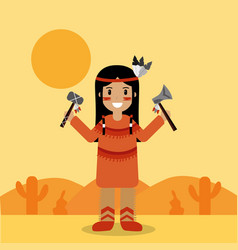 Native american indian character holding tomahawk vector