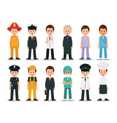 people professions and occupations icon set vector image vector image
