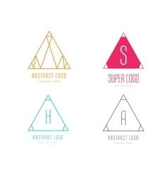 Pyramide shape logo icon set Triangle vector image