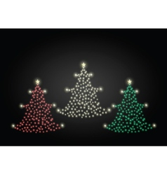 Red gold and green christmas trees vector