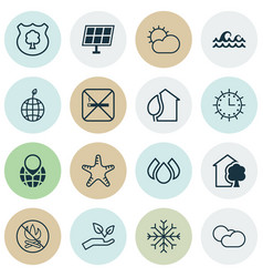 Set of 16 ecology icons includes world ecology vector