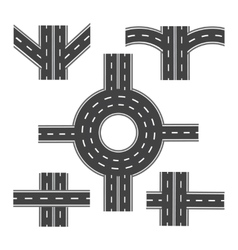 Set of different road sections with roundabouts vector