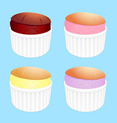 Souffles in white ramekins vector