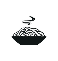 Spaghetti or noodle simple black icon on white vector image
