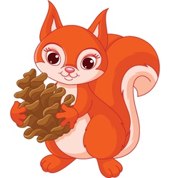 Squirrel with a pine cone vector image vector image