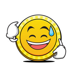 Sweat smile coin cartoon character vector