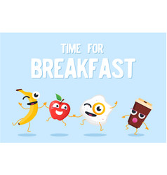 Time for breakfast - modern colorful vector
