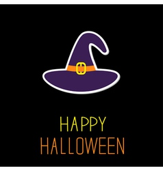 Violet witch hat Happy Halloween card vector image