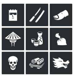 Yakuza japans organized crime icons set vector