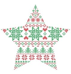 Scandinavian pattern in star shape in green and vector