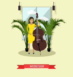Musician playing contrabass vector
