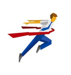 running businessman crosses a finish line ribbon vector image