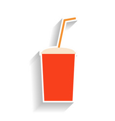 Red paper cup for soda with a straw for drinking vector