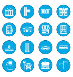 Infrastructure set icon blue vector
