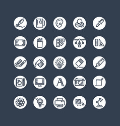 Graphic design icons - tools office stationery vector