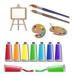 Artists supplies icons vector