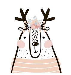 Cute cartoon dear girl in scandinavian style vector