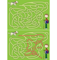Guide dog maze vector