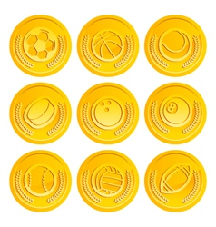 Gold coins with sport balls vector