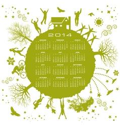 2014 Green Globe Calendar vector image vector image