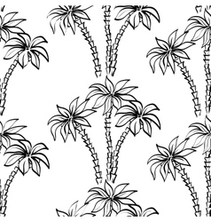 Seamless pattern palm trees contours vector