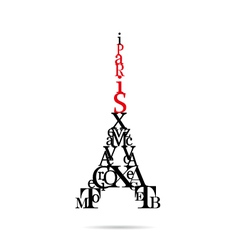 Typography Eiffel Tower vector image