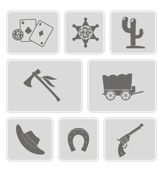 Icons with cowboys and wild west theme vector