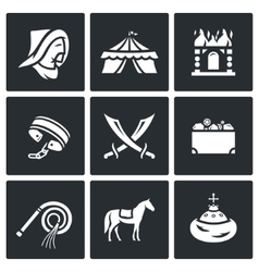 Mongol-tatar yoke icons set vector