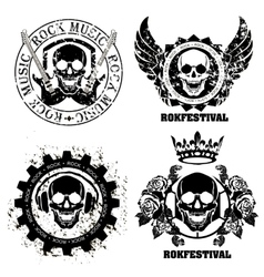 Music skull design elements with font type and vector