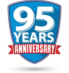 Flat design 95 years anniversary label with red vector