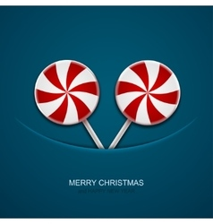 Modern christmas candy on blue background vector