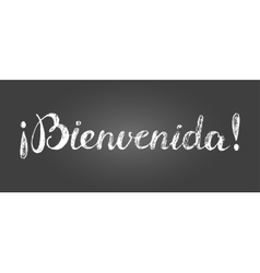Chalk lettering welcome inscription in spanish vector