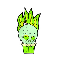 Comic cartoon spooky skull cupcake vector