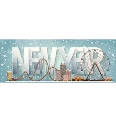 Ferris wheel Winter carnival Christmas new year vector image